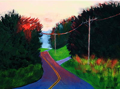 Maine Roads Painting - 4th Of July Sunset by Laurie Breton
