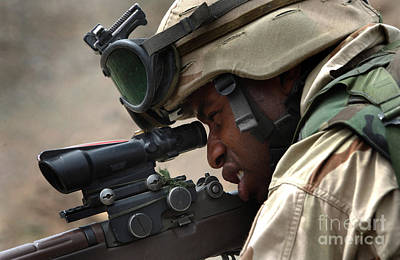 Telescopic Image Photograph - A Soldier Provides Security by Stocktrek Images