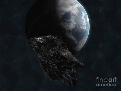 Digital Art - Asteroid In Front Of The Earth by Carbon Lotus
