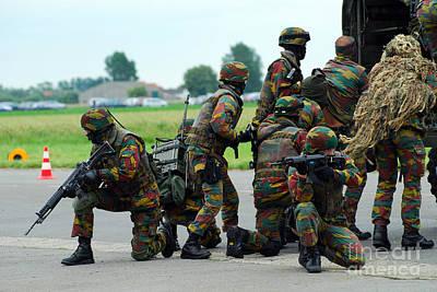 Blending Photograph - Belgian Paracommandos Entering by Luc De Jaeger
