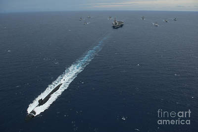 Carrier Strike Group Formation Of Ships Art Print by Stocktrek Images