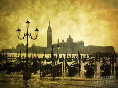 Gondolas. Venice Print by Bernard Jaubert