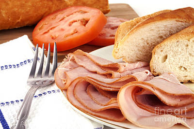 Baguette Photograph - Ham Lunch Spread by Blink Images