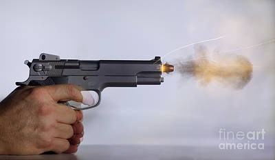 Handgun And .45 Caliber Bullet Art Print