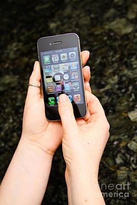 Hands Holding An Iphone Art Print