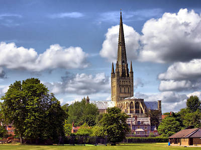 Norwich Cathedral Norfolk England Art Print by Darren Burroughs