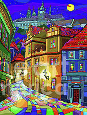 Mixed Media - Prague Old Street by Yuriy  Shevchuk