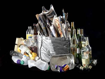 Recyclable Photograph - Recyclable Household Waste by Tek Image