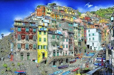 Mixed Media - 5 Terre Riomaggiore Landscape In Passeggiate A Levante by Enrico Pelos