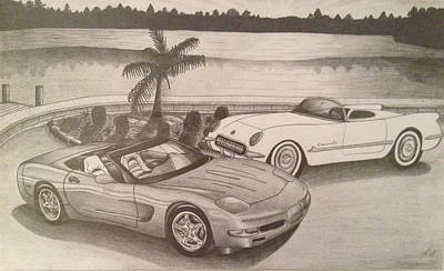 Ford Truck Drawing - 50 Years Of Corvette 1953-2003 by Peter Griffen