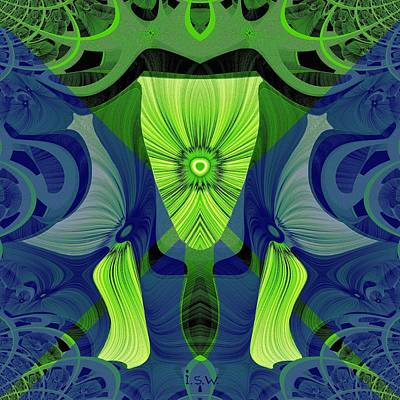 550 Digital Art - 550 - Green Abstract by Irmgard Schoendorf Welch