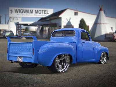 56 Studebaker At The Wigwam Motel Art Print by Mike McGlothlen