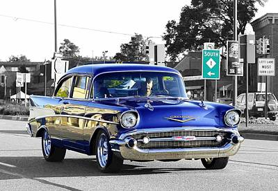 57 Chevy Selective Color Art Print