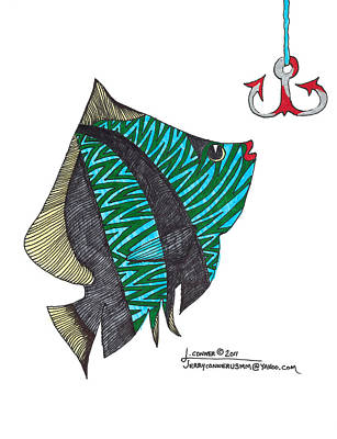 Simplicity Drawing - Fish by Jerry Conner