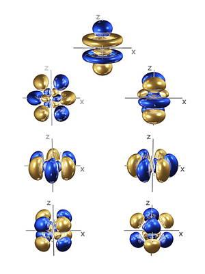 5f Electron Orbitals, General Set Art Print by Dr Mark J. Winter