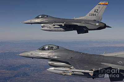 Basketball Patents - A Pair Of F-16s Fly In Formation by HIGH-G Productions