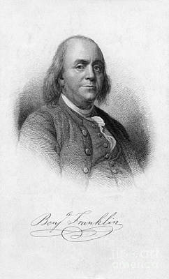 Glass Etching Photograph - Benjamin Franklin, American Polymath by Photo Researchers