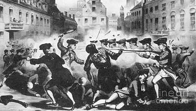 Art Lithographs Photograph - Boston Massacre, 1770 by Photo Researchers