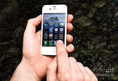 Hands Holding An Iphone Print by Photo Researchers, Inc.