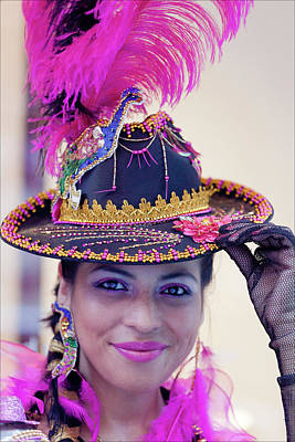 Hispanic Columbus Day Parade Nyc 11 9 11 Female Marcher Art Print