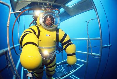 Cage Diving Photograph - Newtsuit Rescue Diver by Alexis Rosenfeld