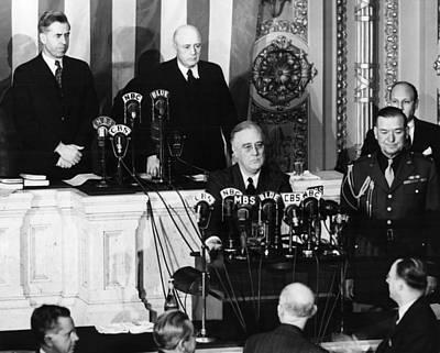 C.b. Radio Photograph - President Franklin D. Roosevelt Front by Everett