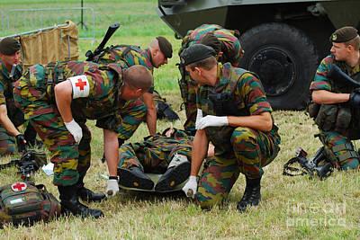 Soldiers Of A Belgian Infantry Unit Art Print by Luc De Jaeger