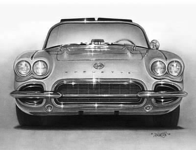 Automotive Drawing - 62 Corvette by Tim Dangaran