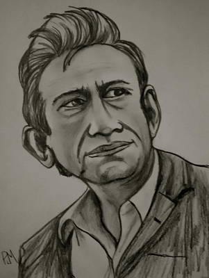 Johnny Cash Drawing - 68 Cash by Pete Maier