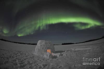 Aurora Borealis Over An Igloo On Walsh Art Print by Jiri Hermann
