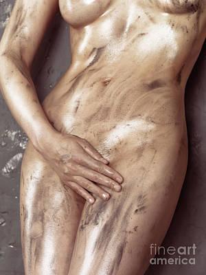 Hand Photograph - Beautiful Soiled Naked Woman's Body by Oleksiy Maksymenko