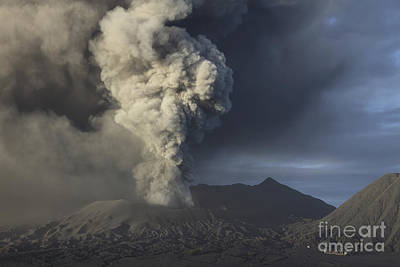 Rowing - Eruption Of Ash Cloud From Mount Bromo by Richard Roscoe