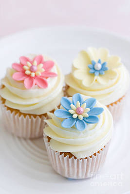 Blue Cup Of Tea Photograph - Flower Cupcakes by Ruth Black
