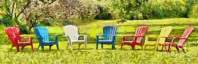 7 Garden Chairs  Art Print
