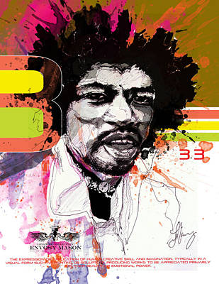 Jimmy Drawings Mixed Media - Jimi 333 by Bobby LeVangie