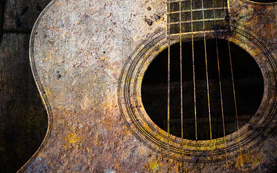 Chord Mixed Media - Old Guitar by Nattapon Wongwean