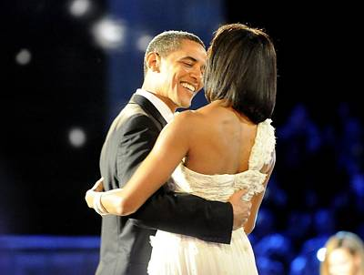 President And Michelle Obama Dance Art Print