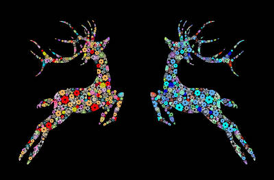 Congratulation Painting - Reindeer Design By Snowflakes by Setsiri Silapasuwanchai