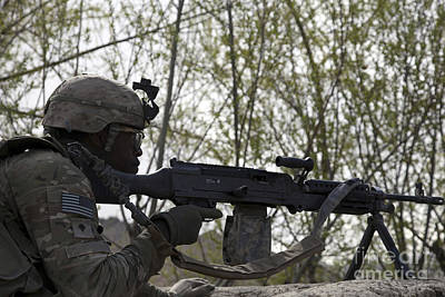 Logar Photograph - U.s. Army Soldier Provides Security by Stocktrek Images