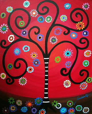 Mexican Town Painting - Tree Of  Life by Pristine Cartera Turkus