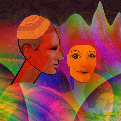 Flashy Painting - 735 - Couple by Irmgard Schoendorf Welch