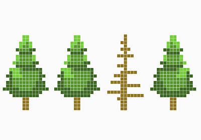 Non People Digital Art - 8-bit Style Trees With One Dead Tree by Malte Mueller