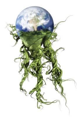 Responsibility Digital Art - Green Planet, Conceptual Artwork by Victor Habbick Visions