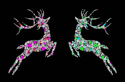 Holiday Digital Art - Reindeer Design By Snowflakes by Setsiri Silapasuwanchai