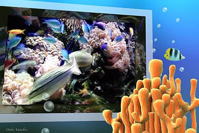 Under The Ocean Mixed Media - Under The Blue Collection by Debra     Vatalaro