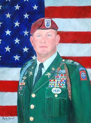 Iraq Painting - 82 Airborne Cpt. Portrait by Phyllis Barrett