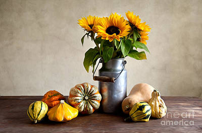 Sunflower Painting - Autumn by Nailia Schwarz