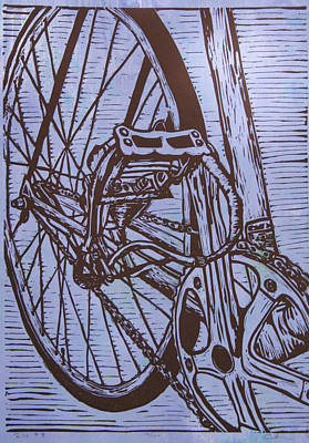 Linoluem Drawing - Bike 3 by William Cauthern