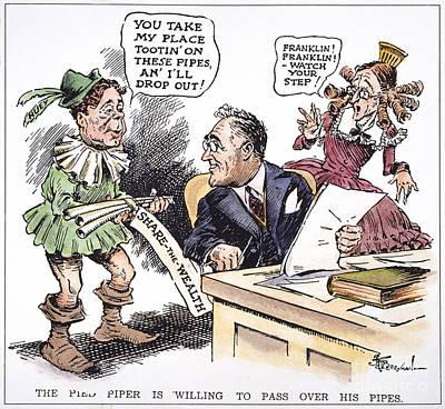 The New Deal Photograph - F.d. Roosevelt Cartoon by Granger