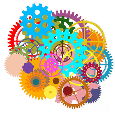 Gears Wheels Design  Art Print by Setsiri Silapasuwanchai